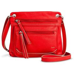 Women's Double Zipper Pocket Crossbody Handbag - Red (495 ZAR) ❤ liked on Polyvore featuring bags, handbags, shoulder bags, handbags & purses, crossbody handbags, double zipper purse, crossbody shoulder bags and red cross body purse