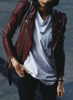Redish leather jacket, slim fit.