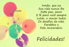 feliz-aniversário-irmão-celular-whatsapp-facebook-C42-imagem 5 Birthday Wishes, Happy Birthday, Paper Organization, Happy B Day, Congratulations, Place Card Holders, Facebook, Cards, Instagram