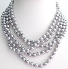 Hand Knotted Silver Gray Necklace Long Gray Neckalce 100 Inches Multi Strand Gray Necklace Free Shipping In USA