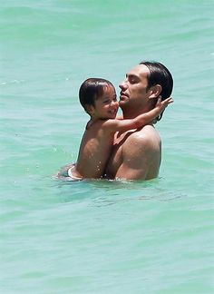 AC Milan's Alessandro Nesta – now a regular on the Miami beach scene – took his swimsuit-matching wife Gabriela and kids, Tommaso and Sofia, for a swim in the bright blue ocean.