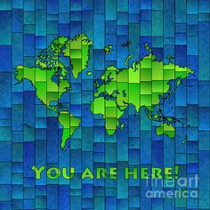 World Map Glasa Blue And Green You Are Here by elevencorners. World map art wall print decor. #elevencorners #mapglasa