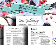 3 Stylish Resume Templates with Matching Cover Letters for Microsoft Word by OriginalResumeDesign on Etsy https://www.etsy.com/listing/215842399/3-stylish-resume-templates-with-matching