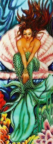 mermaidgardenornaments.com - Mermaid Art Tiles Fabulous colors