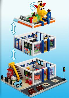 "Lego Toys ""R"" Us custom build Legos, Lego Boards, Amazing Lego Creations, Lego Activities, Lego Construction, Lego Modular, Lego Design, Minecraft, Custom Lego"