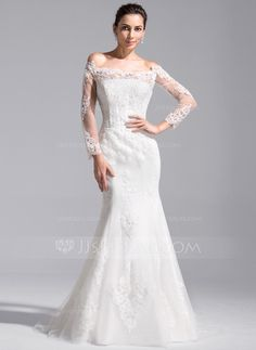 Trumpet/Mermaid Off-the-Shoulder Cathedral Train Tulle Lace Wedding Dress (002071760)