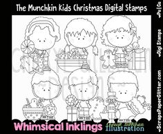 Shop for on Etsy, the place to express your creativity through the buying and selling of handmade and vintage goods. Christmas And New Year, Winter Christmas, White Image, Digi Stamps, Line Art, Fairy Tales, Image Graphic, Whimsical, Stockings