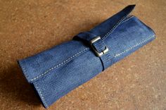 Leather Roll-up Pencil Case by dericidir on Etsy