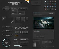 XOO Plate :: Incredible Blugraphic Dark UI Elements Kit PSD - Exceptional quality Blugraphic UI elements kit - modern navigation menu with dropdown, ribbon badges, corner ribbons, flip clock, tags, ribbon banners, circular loading bar, buttons, ticket, icons, video player, popup window, dropdown button, tooltip, search field - PSD.