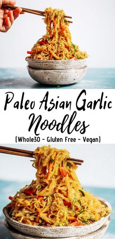 Paleo Asian Garlic Noodles - Easy peasy Asian noodle stir-fry using pantry ingredients that you already have on hand. Quick, no-fuss, and made in Make as an easy dinner, or use as a side dish. Best Paleo Recipes, Gluten Free Vegetarian Recipes, Whole 30 Recipes, Vegan Gluten Free, Asian Recipes, Thai Recipes, Free Recipes, Paleo Vegan, Dairy Free