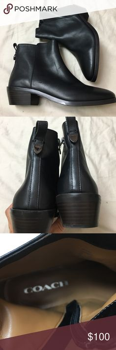 Coach black booties, leather boots, Coach Boots New, Coach Carmen leather booties. Great, classic Styling. These are a size 6 and do run true to size.  Inside zipper. Heel is 1 1/2 inch high. Coach Shoes Ankle Boots & Booties