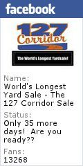 World's Longest Yardsale, also known as the 127 Corridor Sale. NOW 690 MILES! From 5 Miles North of Addison, Michigan to Gadsden, Alabama! 25th Anniversary: Aug 2-5, 2012