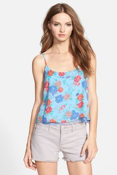 Print Lace-Up Back Camisole (Juniors) by Derek Heart on @nordstrom_rack