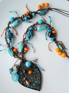 Amazing polymer clay necklace.