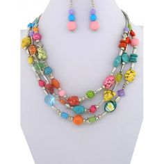 Beaded Stone Multi Color Necklace & Earring Set