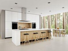 Kitchen Island Bench kitchen colour scheme - concrete island bench, clean white