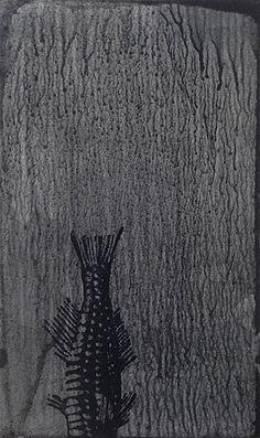 Helen Mueller  fuck, it got away! 6 2013  woodblock print on ink wash - unframed 12.5 x 7.5cm