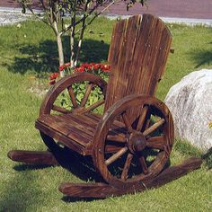 Patio Rocking Chair Relaxing Garden Wooden Elegant Furniture Outdoor Decor