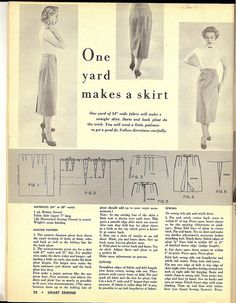 Free Vintage Sewing Pattern - 1 yard skirt