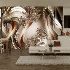 """Beautiful and Stunning this large wallpaper mural """" Brown Symphony"""" looks fantastic up and will transform your Room into something fabulous! This wallpaper mural will give off the wow factor in any room or workplace. 3d Wallpaper For Walls, Wallpaper Decor, Photo Wallpaper, 3d Wallpaper Living Room, Ceiling Design, Wall Design, Living Room Designs, Living Room Decor, Bedroom Decor"""