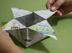 How to Fold a Box with Newspaper -- via wikiHow.com