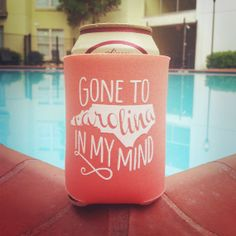 Gone to Carolina UNC Drink Koozie in Coral by ThePinkHousePress, $5.00