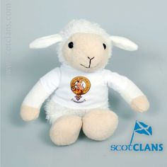 Soft Toy Lamb with MacPherson Clan Crest Free Worldwide Shipping Available