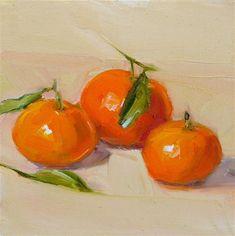 "Daily Paintworks - ""Three Mandarin Oranges,still life,oil on canvas,6x6,price$200"" - Original Fine Art for Sale - © Joy Olney"