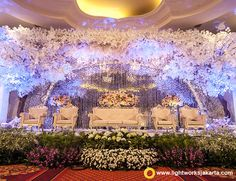Yoko and Naomi's Wedding Reception | Venue at The Ritz-Carlton Jakarta, Mega Kuningan | Decoration by White Pearl Decoration | Lighting by Lightworks