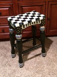 Whimsical hand painted turned leg bar stool by paintingbymichele