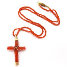 Vintage Art Deco Gold Coral Cross Bead Necklace | Clarice Jewellery | Vintage Costume Jewellery