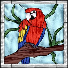 Stained glass Parrot pattern by magalidesign on Etsy https://www.etsy.com/listing/217002188/stained-glass-parrot-pattern