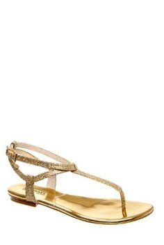 227eab5dd Michael Kors Jessie Thong Sandal in Gold Michael Kors.  122.50