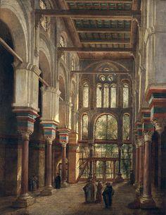 nterior of the Mosque of El Mooristan in Cairo (oil on canvas) by Dauzats, Adrien (1804-68) info.: Interieur de la Mosquee de Mourestan au Caire