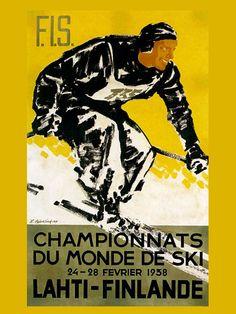 vintage ski poster - 1938 Finland