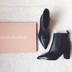 "Acne Pointy Toe Loma Grained Leather Ankle Booties •Heeled ankle boot in pebbled black leather. Pointed toe with silver toe rand. 3"" chunky heel, zip closure at ankle.   •EU38 = US 8, will fit a normal-wide 7.5 or narrow-normal 8.  •New in box. NO TRADES/PAYPAL. Acne Shoes Ankle Boots & Booties"