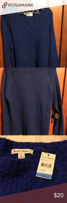 Beautiful royal blue Longsleeve sweater. XL Studio Works Royal blue long sleeve sweater.  (Color = pics 3&4) crew neck.  Beautiful knit designs.  Vertical lines. Studio Works Sweaters Crew & Scoop Necks