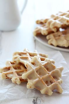 Doughnut Waffles with Maple Glaze - breakfast HEAVEN.