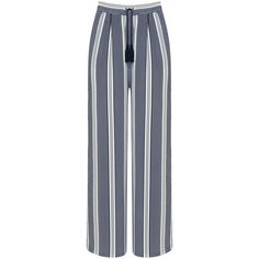 Manon Baptiste White / Blue Plus Size Wide leg striped trousers ($170) ❤ liked on Polyvore featuring pants, plus size and white