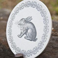 Letterpress bunny coasters  http://www.etsy.com/shop/sarahridgley