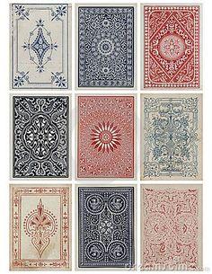 Set of nine antique vintage playing card backs