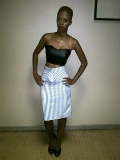 Lee.N.D black and white stripes skirt and leather crop top