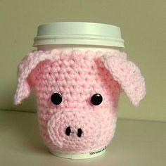 Knitted piggy mug cozy