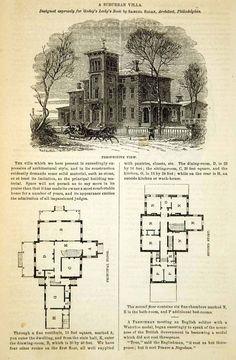 1862 Wood Engraving Victorian Architecture House Villa Floor Plans Samuel YGLB1 | eBay