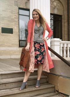 Love the spring style of this LuLaRoe outfit! Cassie skirt, classic tee, Joy vest and Sarah! https://www.facebook.com/groups/lularoe.brooke.marten.boutique/