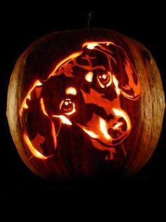 Masterpiece Pumpkins - PUMPKINS from PHOTOS -- how to carve a picture of your doxie onto a pumpkin or watermelon!
