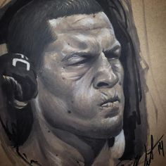 Incredible black and grey Nate Diaz sketch by Kevin Soto.