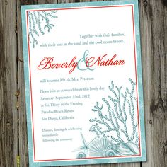 50 Printed Turquoise and Crimson Beach Wedding Invitations with Envelopes