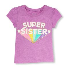 Place Shops Toddler Short Sleeve 'Super Sister' Glitter Neon Graphic Tee - Purple T-Shirt - The Children's Place Toddler Girl Shorts, Toddler Girl Outfits, Toddler Fashion, Toddler Girls, Kids Outfits, Girl Fashion, Family Tees, Purple T Shirts, Kids Wear