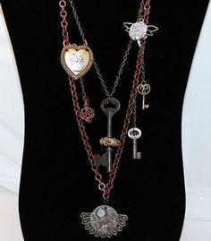 Steampunk Necklace Steampunk Jewelry Skeleton Key by juliechristie, $185.00